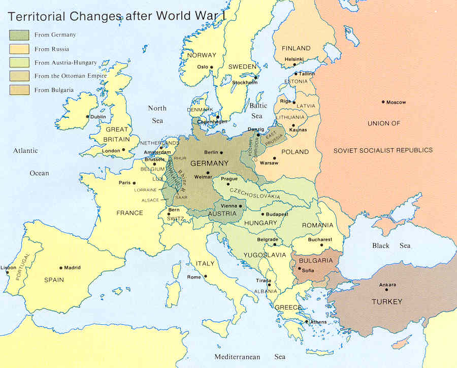 PrePost World War One Europe MrHalulacom - Europe map after world war1